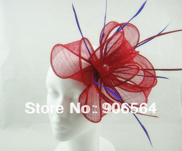 Free shipping 8color avaliable sinamay fascinator hats, nice feather hair accessories ,RMSF156(China (Mainland))