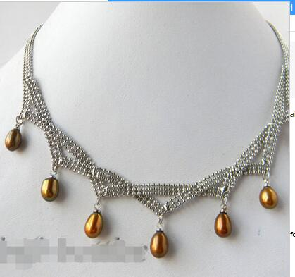 7mm Coffee Teardrop Freshwater Pearl Necklace 17inch LONG Lovely Women's Wedding Jewelry Pretty!(China (Mainland))