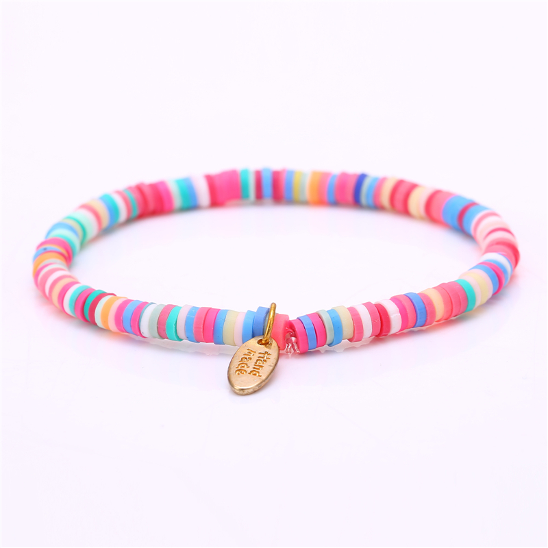 2016 New Hand Made One Direction Candy Color Polymer clay Elastic Charm Bracelet for Women Men Jewelry Wristband free shipping(China (Mainland))