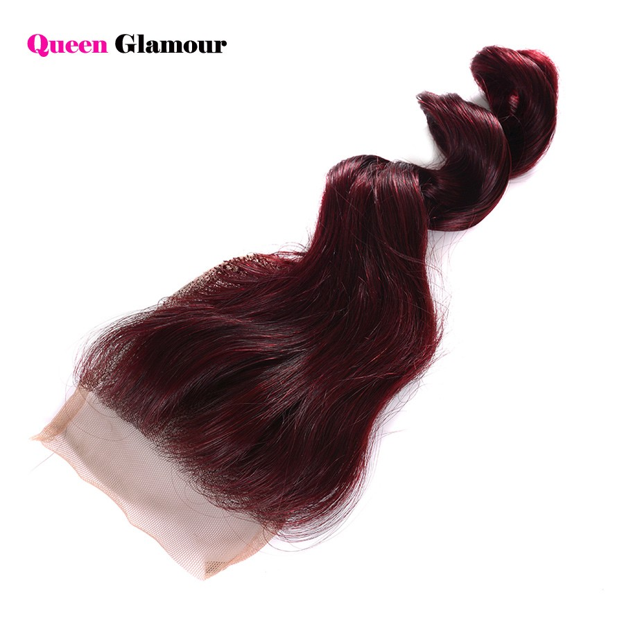 Red Beauty Peruvian Loose Wave Virgin Hair With Closure 99J Color Lace Closure With Bundles Red Hair Bundles With Lace Closure