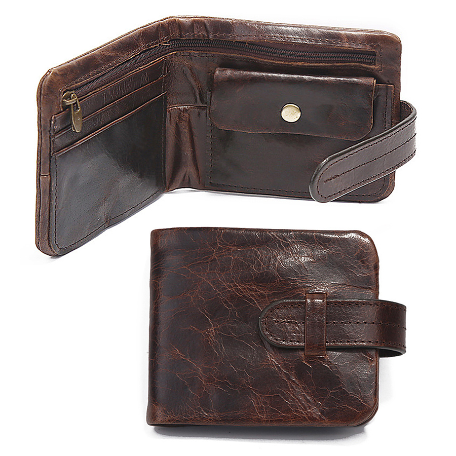 Classical Genuine Leather Mens Wallets Short Fund 2 Folds Oil Bright Style Hasp Business Casual Coins Change Pocket Purse Wallet(China (Mainland))