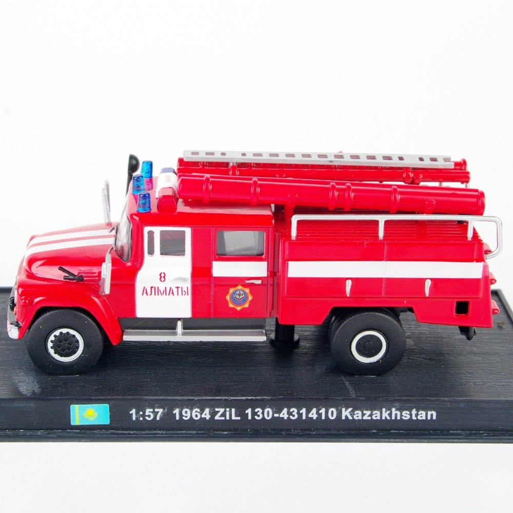 Collectible 1:57 Scale Fire Truck Models 1964 ZiL 130-431410 Kazakhstan Diecast Fire Truck Model Car Toys Vehicles W/ Box E(China (Mainland))