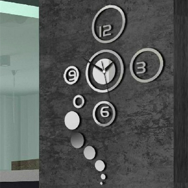 ew Arrival DIY 3D Home Modern Decoration Crystal Mirror Living Room Wall Clock Silver Wholesale(China (Mainland))