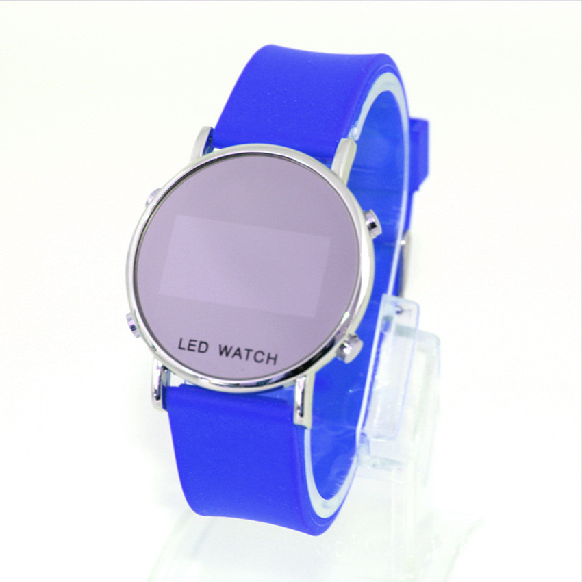 2016 new fashion classic casual colorful sillicone band LED mirror plate quartz watch personality colorful band(China (Mainland))