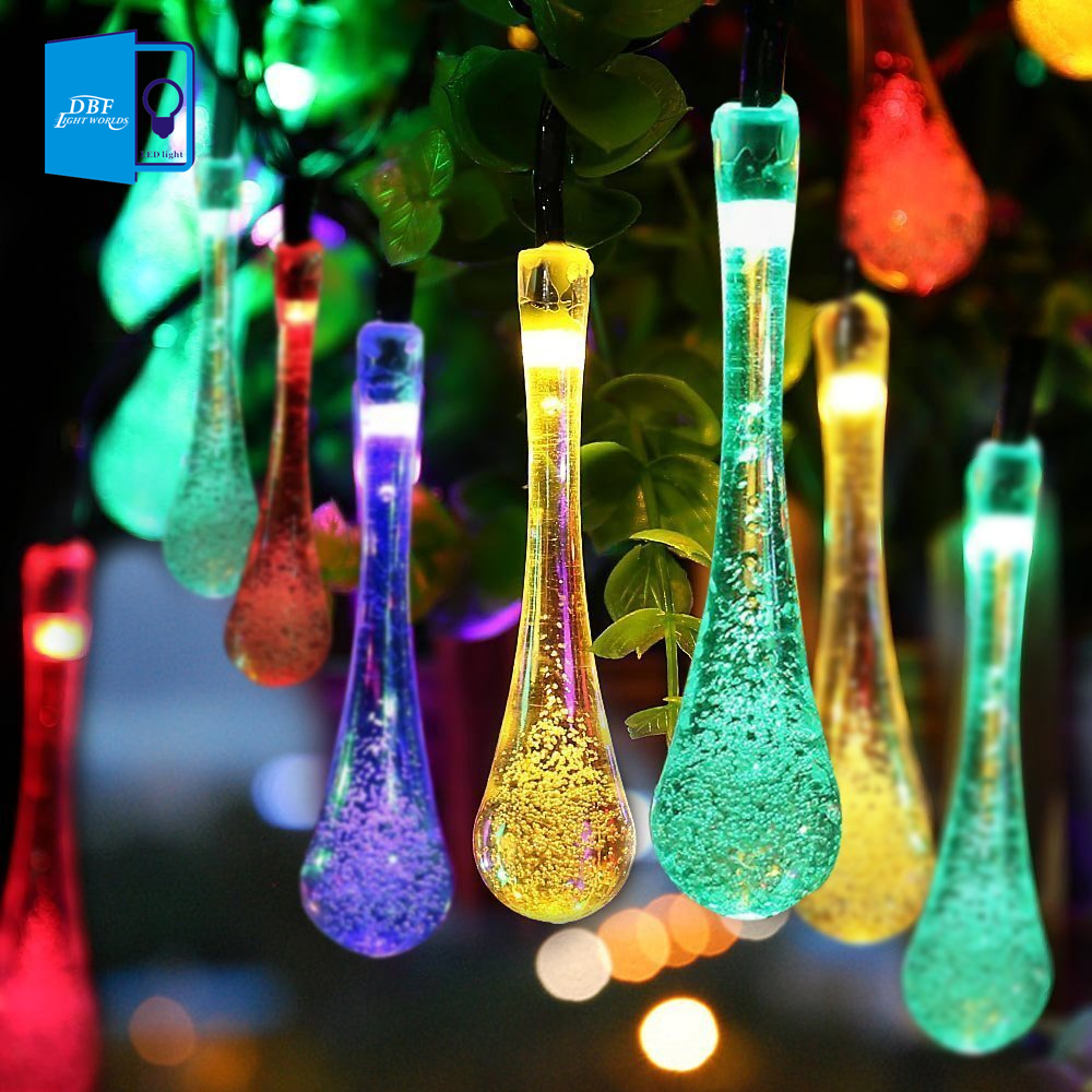 [DBF] Solar Outdoor String Lights ,Water Drop Garlands Lights 20LED Solar Garden Christmas Lights Holiday Outdoor Fairy Lights(China (Mainland))
