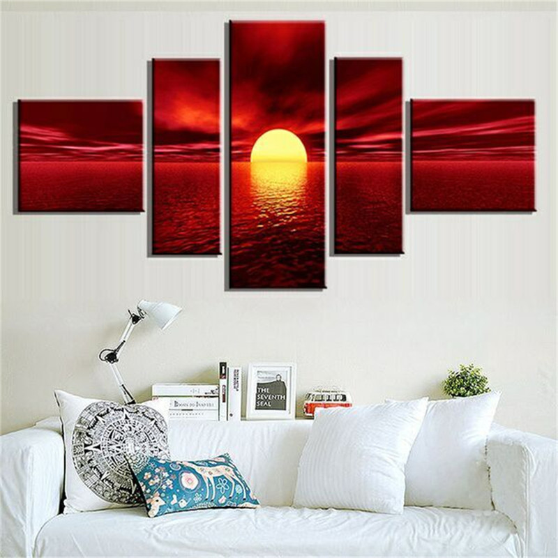 Unframed 5 Panels Art Modern Giclee Canvas Prints Sea Beach Artwork Red Sun Photo Canvas Wall Art for Living Room Home Decor(China (Mainland))