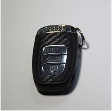 Hot 3D Carbon Fiber vinyl key cover key case key ring key sticker case for Audi A4 A6 RS4 A5 A7 A8 S5 RS5 8T Q5 S5 S6