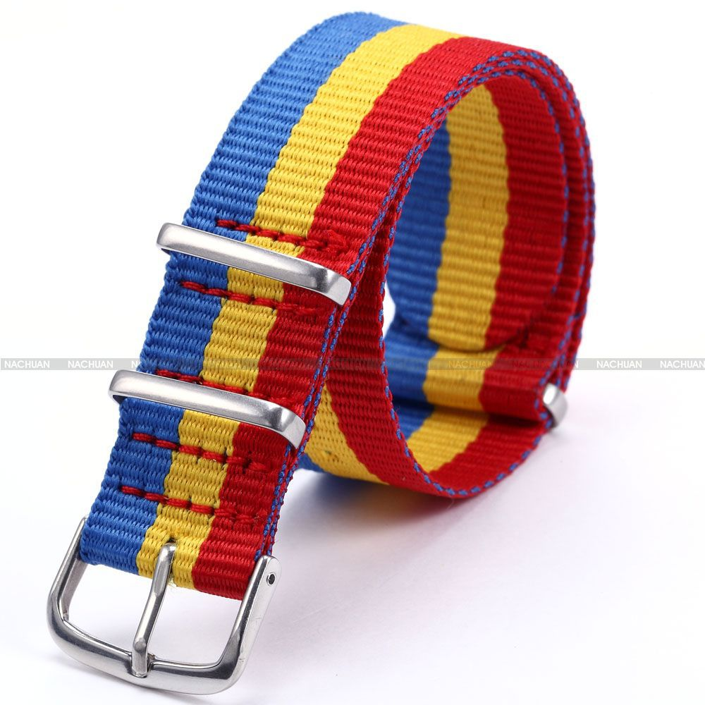 New 20mm Blue Yellow Red 3 Color Stripe Nylon Canvas Fabric Stainless Steel Buckle Sport Quartz Wrist Watch Band Strap / WB2006(China (Mainland))