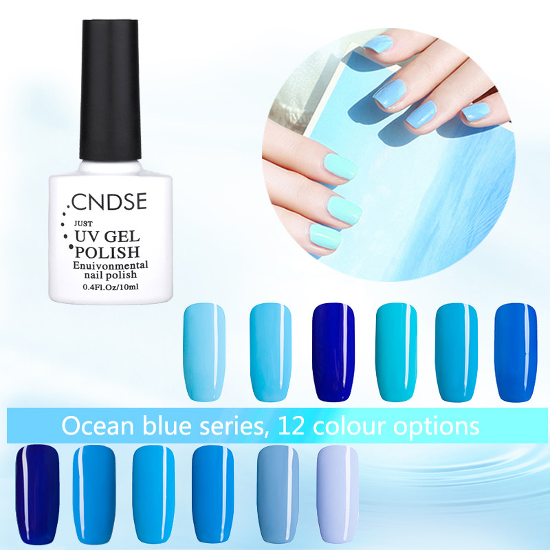 12 Color Blue Ocean Series UV Gel Nail Polish Long-Lasting Soak-off LED UV Gel Color Nail Polish Art Design 10ML(China (Mainland))