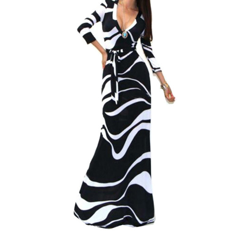Sexy Package Hip Maxi Dress Fashion V-neck Long Sleeve Printed Long Dress desigual Women Party Dresses vestido de festa ONY8785(China (Mainland))