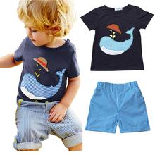 2016 New Arrival summer baby boy clothing set shark printed T-shirt + shorts 2 pieces set kids clothes(China (Mainland))