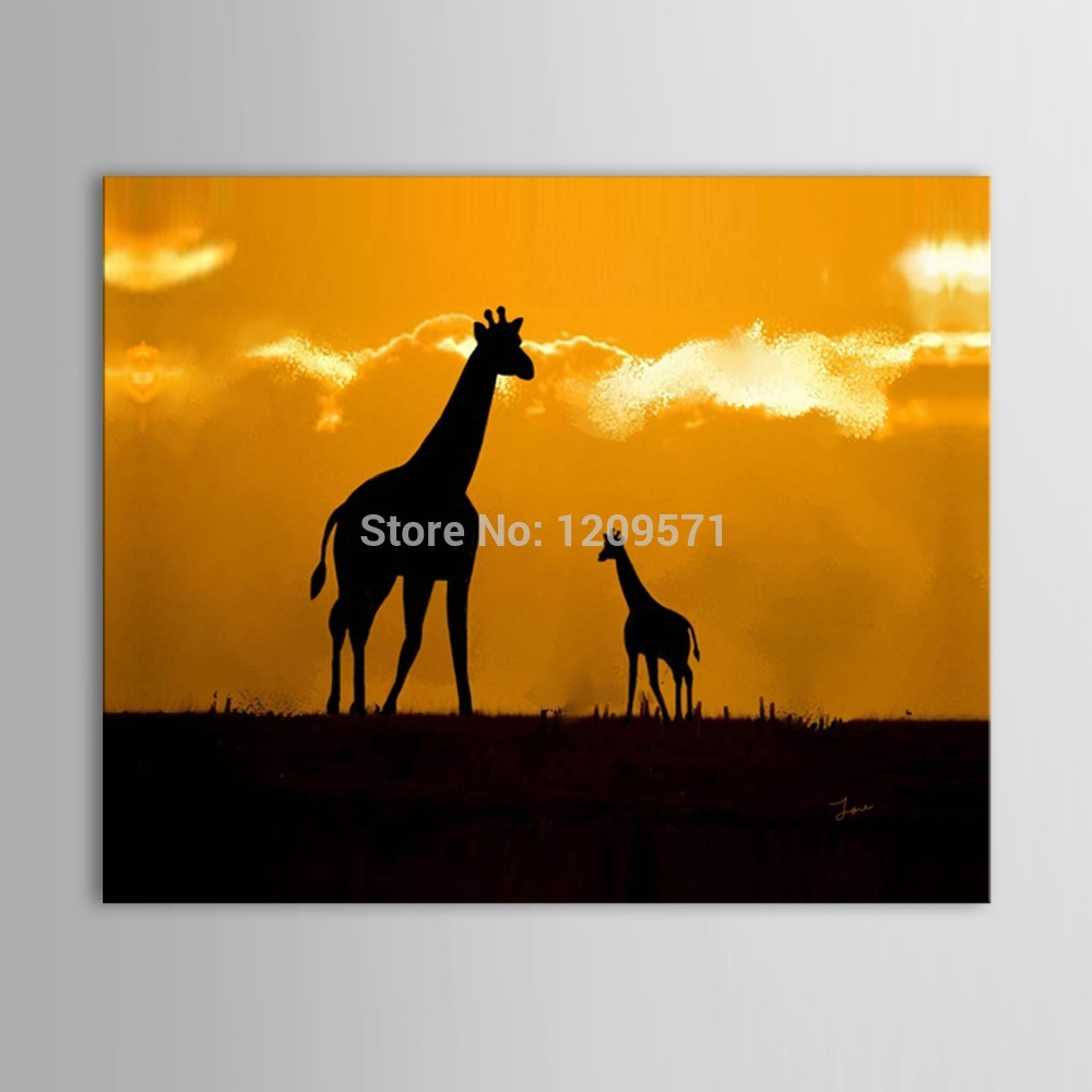 Iarts Print add Hand Painted Painting Animal Giraffe Mother with child in the grasslands of Night Picture(China (Mainland))