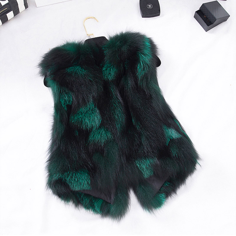 2016 New Design Nature Real Silver Fox Fur Vest Genuine Fox Fur Gilet Winter Fur 0utwear Womens With Fox Heads w013(China (Mainland))