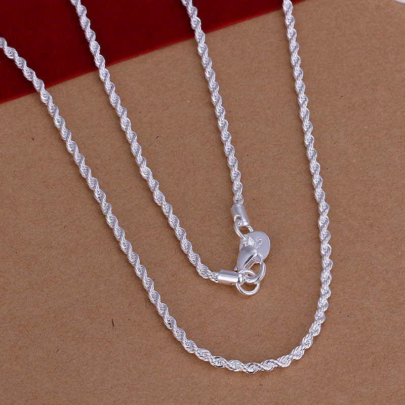 Free Shipping silver plated Necklace Fashion Shine Twisted Line 2mm Silver Jewelry Necklace Pendant Top Quality