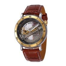 2016 Top Quality Genuine Leather Men Transparent Mechanical Watch Gold Skeleton Bridge Man Automatic Self Wind Watch Relojes