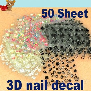 50 Sheet x 3D Design Tip Nail Art Sticker Decal Manicure Mix Color Flower Free Shipping 50