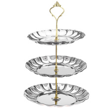 Three Tier Oval Solid Stainless Steel Plate Stand for Party Wedding Candy Dessert Cheese Cupcake Fruit Under Glazed Plate Dish(China (Mainland))