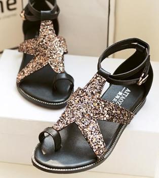 Сандалии гладиаторы горный хрусталь для женщин натуральная кожа Большой размер сандалии плоским бисером мода спящий каблук для девочек Femininas