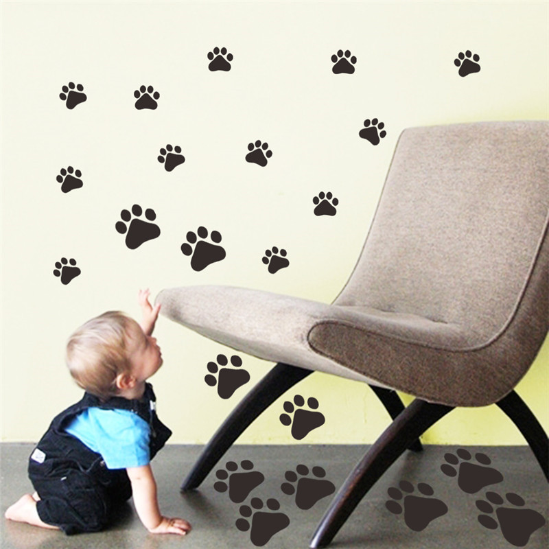 %LK009 cute dogs paw vinyl tiny wall stickers kids DIY gift window friger sticker door cabinet wall decals mural art home decor(China (Mainland))
