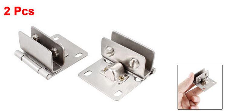 2 PCS Bathroom 10mm Thickness Glass Door Hinge Silver Tone Set(China (Mainland))