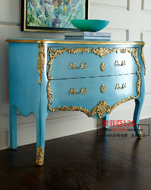 European Mediterranean wood entrance foyer console table cabinet storage cabinet drawers can be customized(China (Mainland))