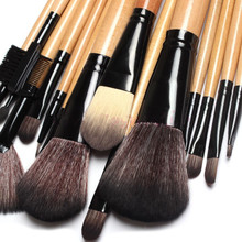 Hot sale!!women rushed to 15 pcs Soft Synthetic Hair make up tools kit Cosmetic Beauty Makeup Brush Black Sets with Leather Case