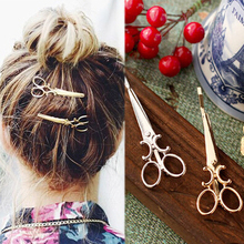 Forks 2016 Hot Fashion Fashion Precious Metal Gold Silver Scissors Hair Accessories for Women Jewelry Hair Clips t35