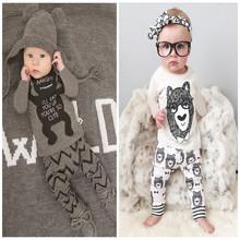 2016 New Baby Pajamas Infant Clothing Children Little Monster Cartoon Cotton Long Sleeve Pyjamas + Full Pants 2Pcs Sets(China (Mainland))