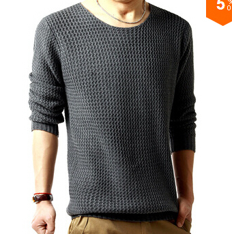 Free shipping pullover sweater male o-neck sweater 2014 spring long sleeved turtleneck sweater knitted men 3 colors SIZE:M-XXL(China (Mainland))