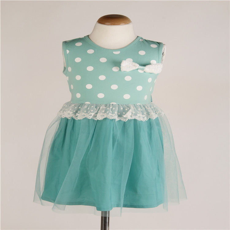2015 summer fashion new style vest dress sweet girls dot bow sleeveless vest dress children dress L14003(China (Mainland))