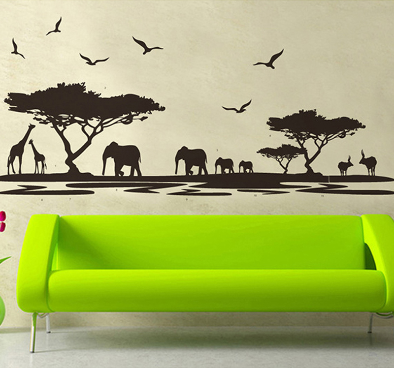 1pcs Elephant Habitat Wall Stickers Home Accessories Vinyl Decals TV Sofa Background Bedroom Living Room Poster Mural Wallpaper(China (Mainland))
