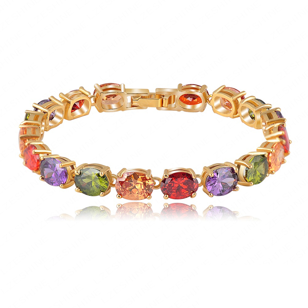 Wholesale AAA Multicolor Oval Swiss Cubic Zirconia Diamond Bracelet 18K Gold Plated Colorful Zircon Strand Bracelets CBR0009-C(China (Mainland))