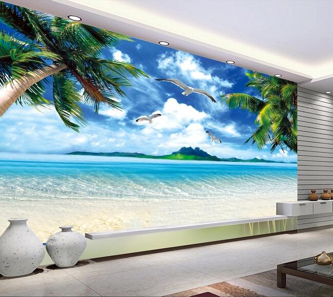 Custom wall mural landscape, Hawaii beach murals for the living room bedroom TV background wall waterproof vinyl papel de parede