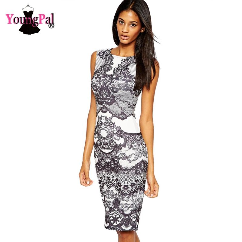 2015 New Celeb Flower Print Dress Midi Vintage Shift Pencil Dress Women Work Wear Formal Business Summer Dress HW0262(China (Mainland))