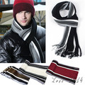 Hot New Men s Winter Classical Striped Artificial wool Scarves Men Tassels Scarf Long Knitted Pashmina