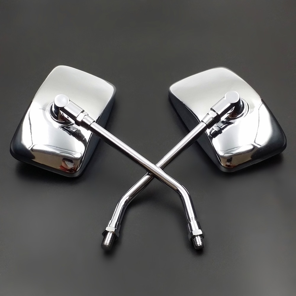 Freeshipping 10mm Chrome Metal Rectangle Side Mirror For Honda font b Kawasaki b font Suzuki Motorcycle