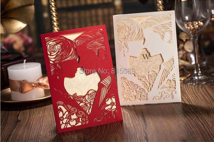 Laser Cut Kissing Lover Red Wedding Invitations Cards Favor Envelope 5 Custom Printing - WOW Supermarket store