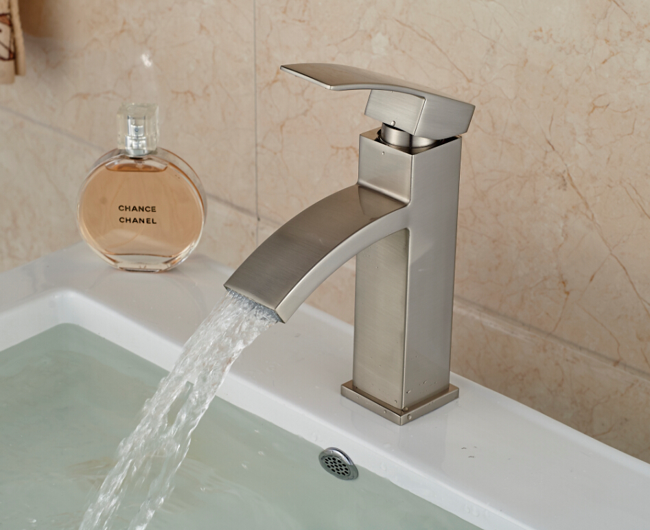 Waterfall Brushed Nickel Bathroom Basin Faucet Square Vessel Sink Mixer Tap In Basin Faucets