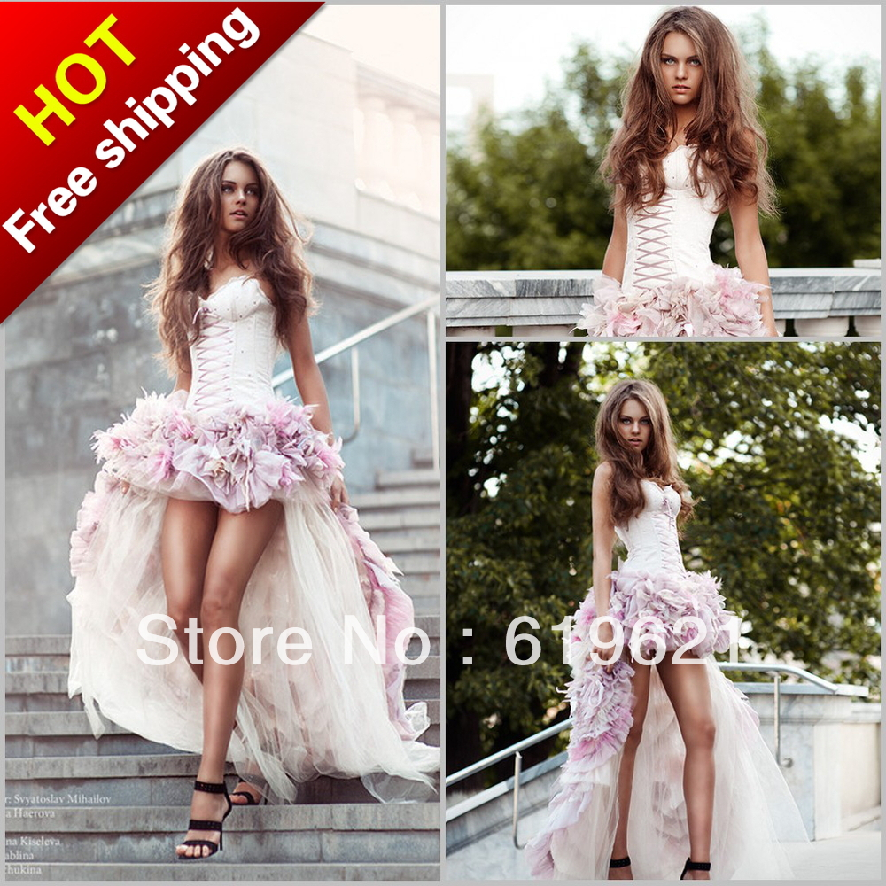 Sw29 Sweetheart Front Short Long Back Satin Pink Wedding Dress Flowers Dresses New Fashion 2013 - Romantic Online store