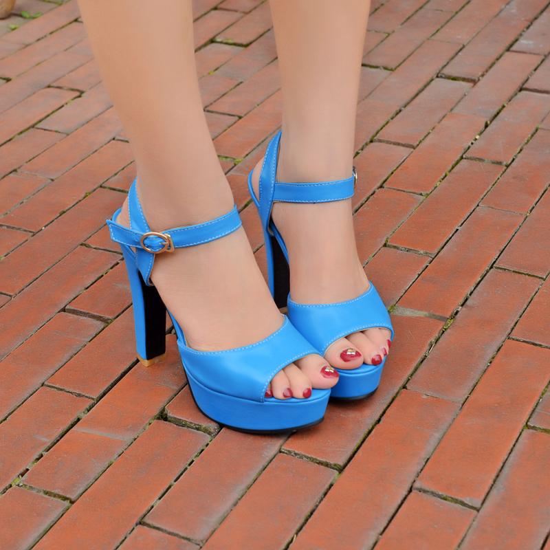 new popular women shoes elegant ankle strap open toe high spike heels slingback thick platform wedding sandals blue/pink/white(China (Mainland))