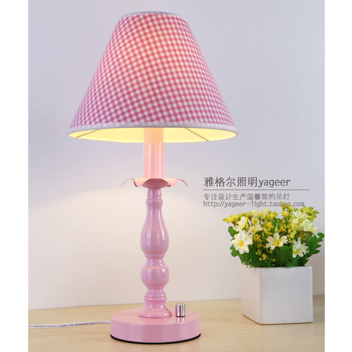 Free Shipping HGHomeart Pink bedroom bedside lamp decorative lamp eye study lamp study sweet fine grid dimmable fixtures(China (Mainland))