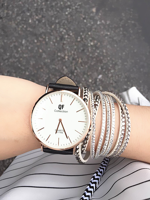 2015 Women Fashion Casual Leather Belt Dress Quartz Watch Hot In Europe And America Large Dial