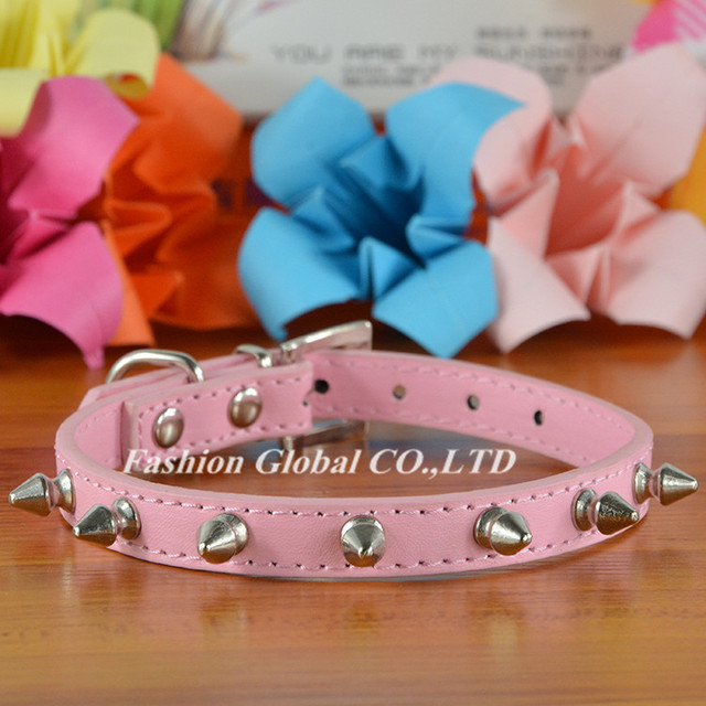 High Quality Pet Cat Dog Collar PU Leather Rivet Spiked Studded Adjustable Dog Neck Strap Collar
