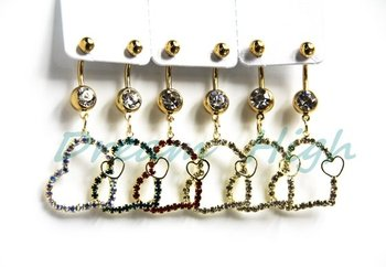 Newest style Dangle Belly Button Rings Heart Golden Navel Piercing 316L Surgical steel 240pcs/lot Free Shipping