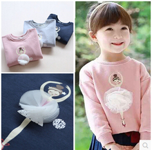 YP30873329 Retail 2015 Autumn Baby Girl Hoodies Print Dance Girl Sweatshirt Lolita Casual Girl Top Children Clothes(China (Mainland))