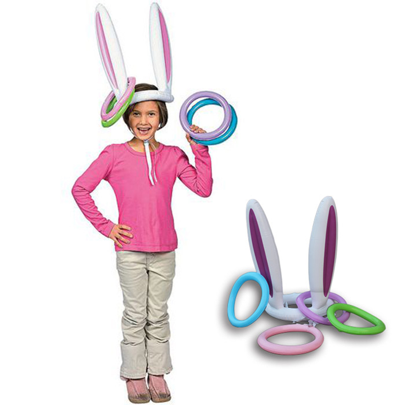 Inflatable Easter Bunny Ears Rabbit Hat Ring Toss Party Game Ferrule Tools Birthday Party Decoration Children Outdoor Game Toy(China (Mainland))