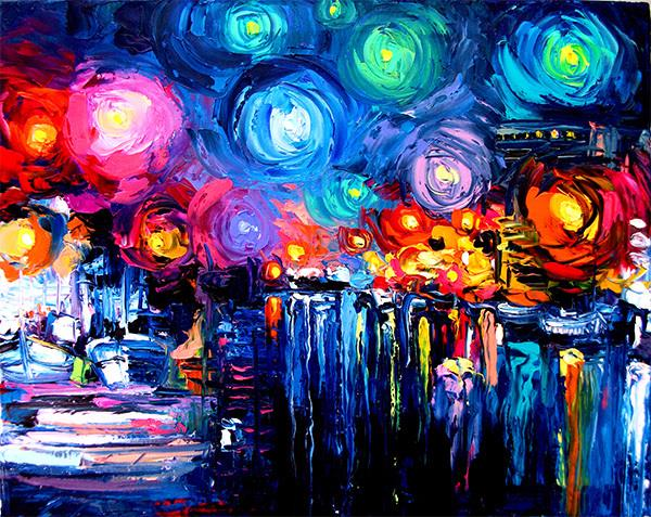 printed Masters Starry Night Vincent Van Gogh prints reputation oil painting on canvas wall art picture for living room v03(China (Mainland))