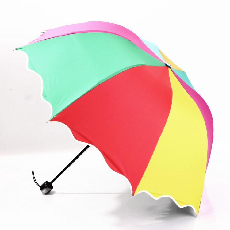 Free Shipping Personalized Vinyl Rainbow Umbrella umbrella sun umbrellas Korean fashion princess sunny triple folding umbrella(China (Mainland))