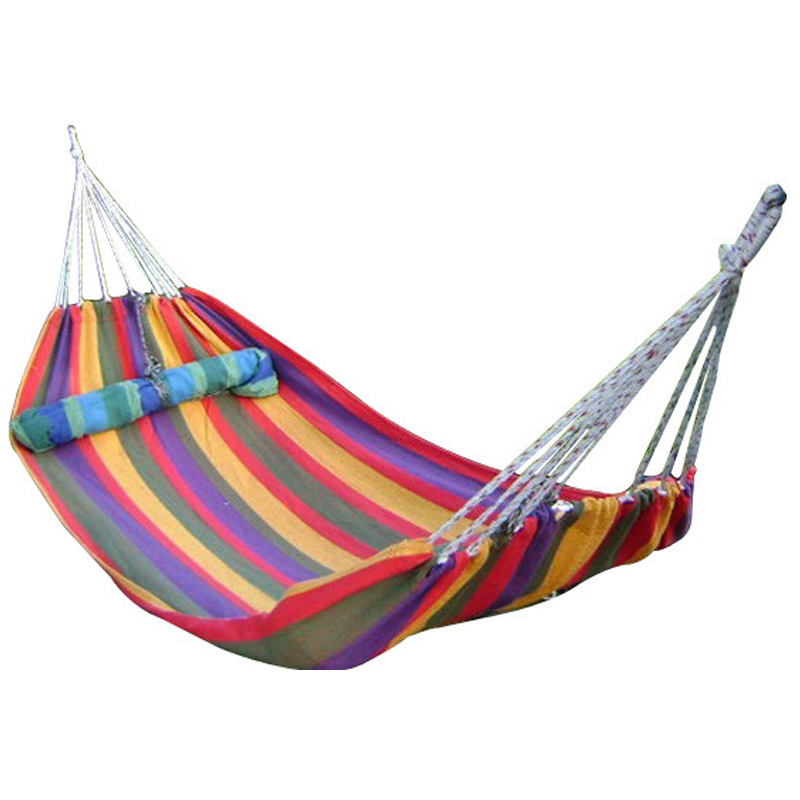 2015 New outdoor 190*80cm 1 people Portable Camping hammock garden swing set relaxing swing sack Max 120KGS Canvas hammock(China (Mainland))