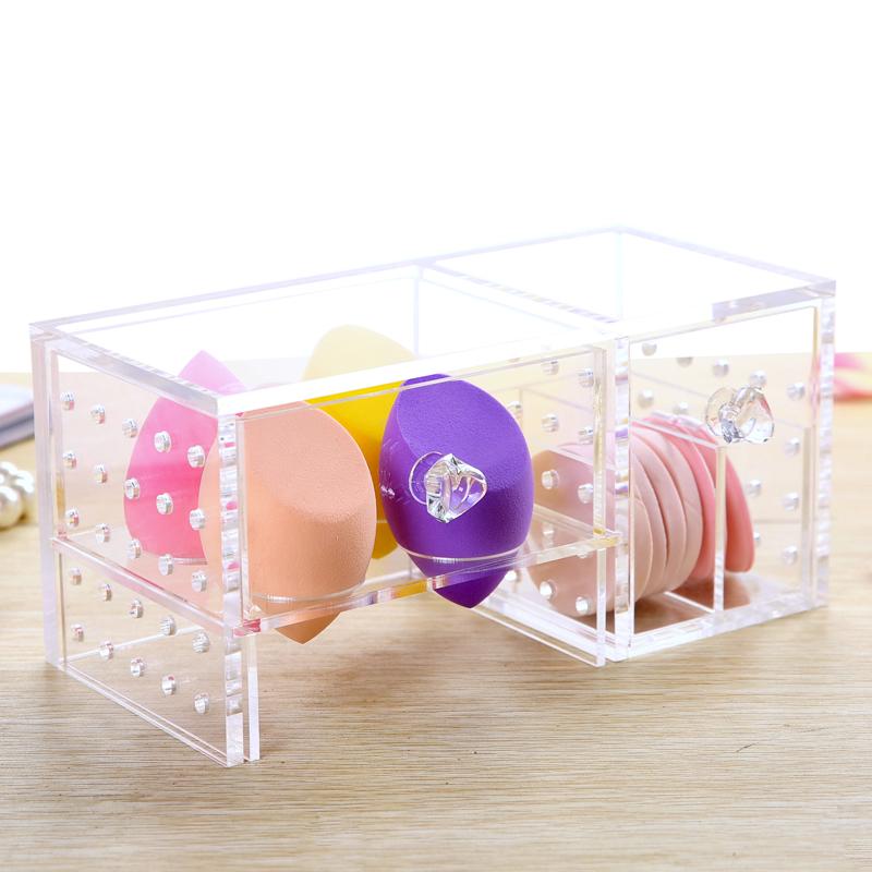 New Style Mini 1 Pc Clear Acrylic Lipstick Holder Cotton Swab Box Cosmetic Case Jewelry Organizer Storage Box With Drawer(China (Mainland))